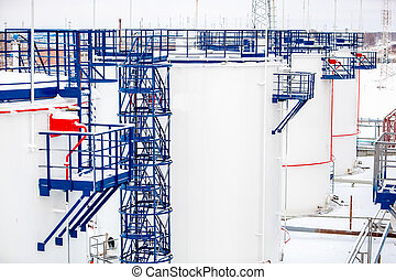 refinery factory oil storage tanks close up