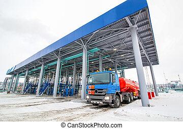 óleo, perigosa,  gás, Fábrica, refinaria, estação, líquidos, caminhão