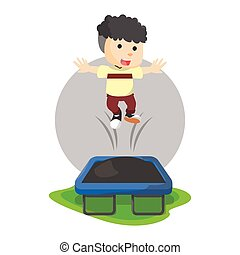Boy playing trampoline