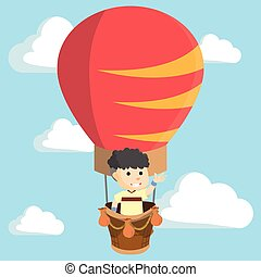 Boy flying giant baloon