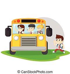 Children go to school with bus