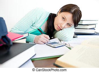 ocupado, mulher, cansadas, dela, escrivaninha