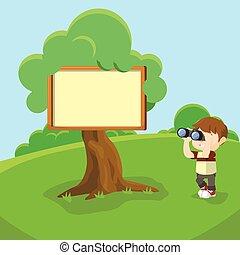 Blank sign at tree