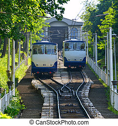 Kiev Funicular Railway on the Vladimir hill. Ukraine