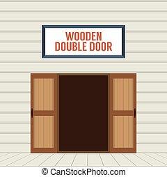 Open Wooden Double Door. - Flat Design Open Wooden Double...