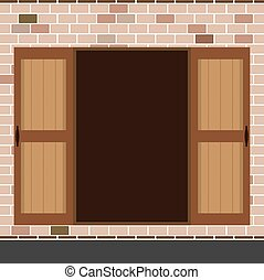Open Wooden Double Door - Flat Design Open Wooden Double...