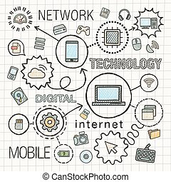 Technology hand draw integrated icons set. Vector sketch infographic illustration. Line connected doodle hatch pictogram on paper, computer, digital, network, business, internet, media, mobile concept