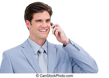 business man answering the phone