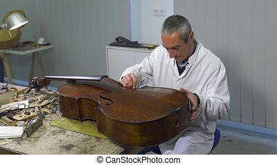 a luthier repairs a cello - luthier uses special tools to...