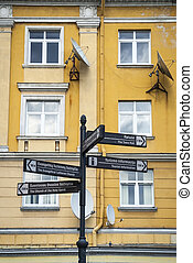 Sign with tourist attractions in Kaunas, Lithuania