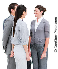 Smiling business people interacting standing