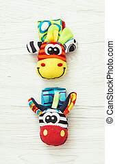 Two colorful wrist pals, funny toys