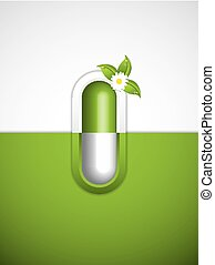 Homeopathy - Green alternative medication concept -...