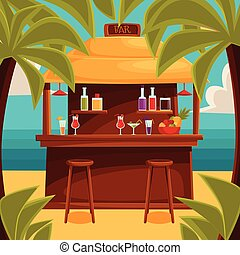 Summer bar, beach cafe with palm trees - Beach bar on plage,...
