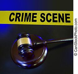 Gavel, police lights crime scene