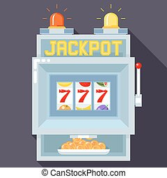 Casino slot gambling machine. Vector UI game template