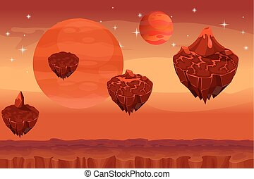Fantastic space landscape, martian alien planet game...
