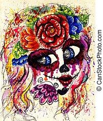 Sugar Girl in Flower Crown - Girl with sugar skull makeup in...