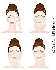 Woman face cleaning, four stages
