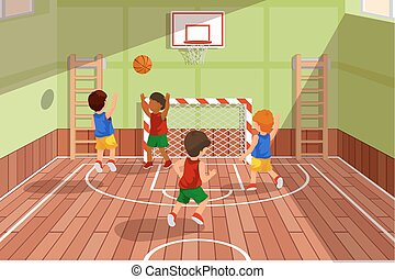 School basketball team playing game. Kids are playing,...