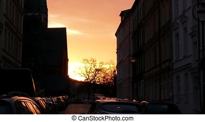 Urban Street Sunset Pan Shot View - Rostock, Germany View...