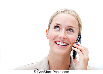 Portrait of a charming businesswoman talking on phone
