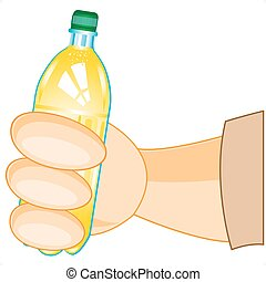 Bottle of juice in hand - Plastic capacity with drink in...