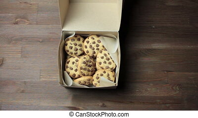 Chocolate Chip Cookies in a Gift Box Shipping or Give a Gift in Hands
