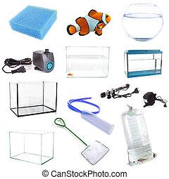 aquarium equipment in front of white background