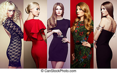 Group of beautiful young women - Fashion collage. Group of...