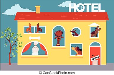 Hotel for dogs - Cartoon hotel building occupied by cute...