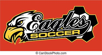 eagles soccer team design in script with tail for school,...