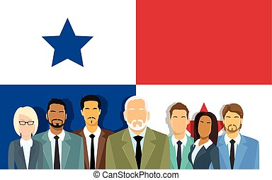 Panama Flag Senior Businessmen Group of Offshore Business...