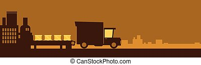 Truck Delivery Service, Lorry Car Drive Road Big Factory Banner With Copy Space