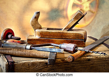Old Tools - still life with old used carpentry tools