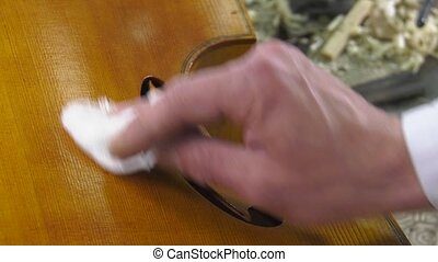 a luthier repairs a cello - A luthier the polished surface...