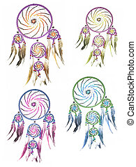dream catcher - beautiful colored feathers dream catcher...