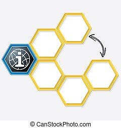 Vector hexagons for your text and info symbol
