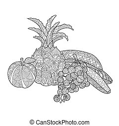 Fruits coloring book for adults vector - Fruits still life...