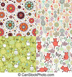 set of patterns with nature - Four seamless pattern with...