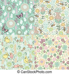set of floral patterns - Four fun seamless pattern with...