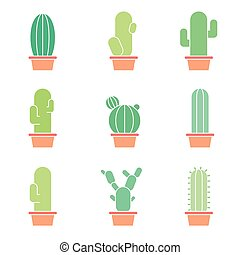 Cactus abstract collection set