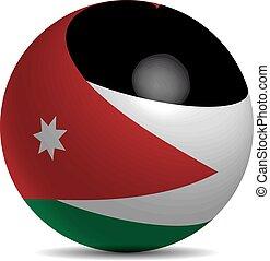 Jordan flag vector - Jordan flag on a 3d flag with shadow,...