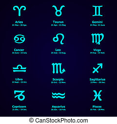 zodiaque, conception, ensemble, icônes,  horoscope