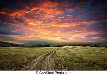 Dirt road - sunet over dirt road