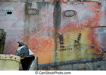 Airplane wreckage - Detail of an airplane wreckage in the...