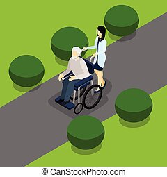 Disabled Retired People Life Isometric Banner - Elderly...