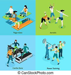 Fitness Aerobic Isometric Icons Set - Fitness aerobic...