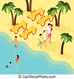Family Tropical Beach Vacation Isometric Banner - Tropical...