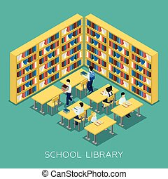 Education Middle School Library Isometric Banner - Students...
